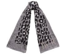 Kristi H68023850 Stola aus hell- und dunkelgrauer Seide mit Leoparden-Print