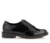 Reeve Flat Flache Schuhe aus schwarzem Lackleder mit Kristalldetails
