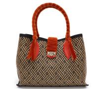 Marianne Shopper/s Handtasche aus gewebtem Raphiagewebe und Samt in Chili