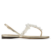 Gemina Flat Flache Sandaletten aus Nappaleder in Platin mit Metallic-Optik