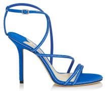 Dudette 100 Peeptoe-Sandaletten aus Wildleder in elektrischem Blau mit Hotfix-Schmucksteinbesatz
