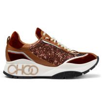 Raine Sneaker aus Samt, Leder und rostfarbenem Glitzergewebe