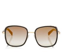 Elva Oversize Sonnenbrille aus Metall in Schwarz und Rose Gold mit Details aus Leder mit Leoparden-Print