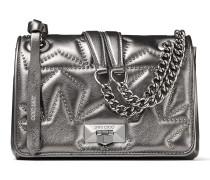 Helia Shoulder Bag/s Umhängetasche aus Nappaleder in dunklem Anthrazit mit Matelassé-Optik und Nieten
