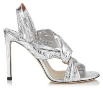 Lalia 100 Sandalen aus silbernem metallischen Leder mit Lederrüschen