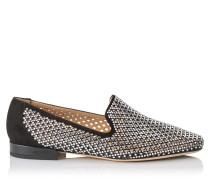 Jaida Flat Flache Schuhe aus schwarzem mikroperforiertem Wildleder mit Hotfix-Kristall