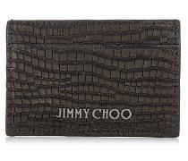 Dean Kartenetui aus schwarzem Nubukleder mit Krokodil-Print