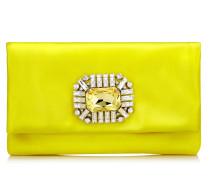 Titania Clutch aus Satin in Fluo-Gelb mit Schmucksteinverzierung