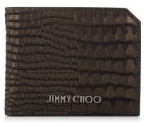 Timmy Faltbare Brieftasche aus schwarzem Nubukleder mit Krokodil-Print
