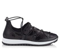 Andrea Sneaker aus Stretch-Netzgewebe mit schwarzem Glitzer