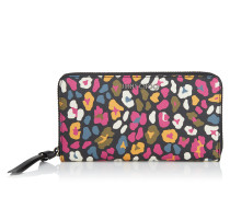 Pippa Brieftasche mit umflaufenden Reißverschluss aus Leinen mit mehrfarbigem Leoparden-Print