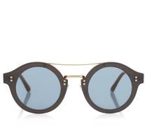 Montie Sonnenbrille aus nudefarbenem Acetat mit rundem Gestell und goldenem Glitzergewebe