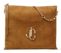 Varenne Shoulder/l Handtasche aus braunem Wildleder mit JC Logo