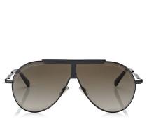 Eddy Sonnenbrille aus schwarzem Metall mit braunen schattigen Gläsern