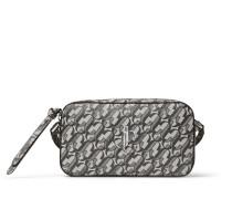 Hale Kleine Tasche aus silbernem und schwarzem Glitzerleder mit JC Monogramm Logo