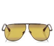 Ewan Aviator Sonnenbrille mit Gestell in Havana und silbernem Titan mit braunen Spiegelgläsern