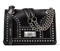 Helia Shoulder Bag/s Umhängetasche aus schwarzem Leder mit Fell-Print und Nieten