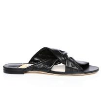 Lela Flat Flache Sandalen aus schwarzem Nappaleder