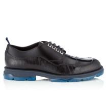 Basti Schuhe aus marineblauem Leder mit Eidechsen-Print und glänzendem Kalbsleder
