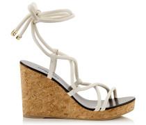 Allis 95 Sandalette in Latte mit Kork-Wedges und Riemen aus Nappaleder