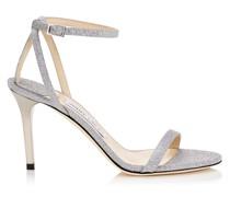 Minny 85 Sandalen aus feinem Glitzergewebe in Silber