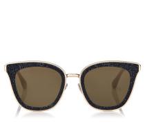 Lizzy Cat-Eye Sonnenbrille in Schwarz und Gold mit Kristalldetails