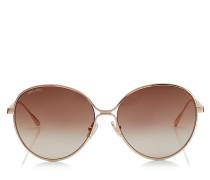 Neva Metall-Sonnenbrille in Kupfergold mit nudefarbenen Emaildetails