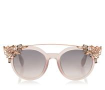 Vivy Sonnenbrille mit rundem rosanem Gestell und abnehmbaren Schmuckeinsatz