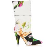 Sara 100 Mittelhohe Stiefel aus gepolstertem Blumen-Gewebe mit Moiré-Print