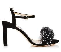 Jamille 85 Offene Sandalen aus schwarzem Wildleder mit gepunktetem Tüll