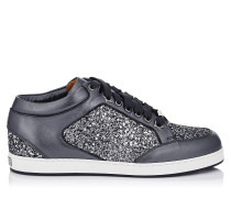 Miami Low-Top-Sneaker aus grobem Stern-Glitzergewebe in Stahlgrau und Nappaleder mit Metallic-Optik