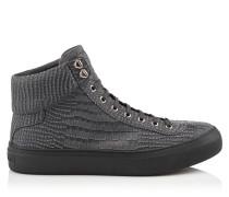 Argyle High-Top-Sneaker aus schiefergrauem Nubukleder mit Krokodil-Print