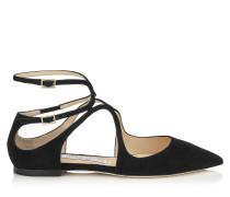 Lancer Flat Spitze flache Schuhe aus schwarzem Wildleder