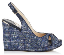 Amely 105 Wedges aus Tweed in Dunkelblau-Mix mit Metallic-Optik