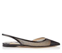 Fetto Flat Spitze Schuhe aus schwarzem Lackleder und Netzgewebe