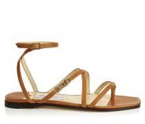 JAS Flat Flache Sandalen aus Vachetteleder in Cuoio
