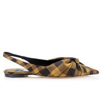 Annabell Flat Spitze flache Schuhe mit Slingback-Riemen aus Check-Gewebe in Karamell Mix