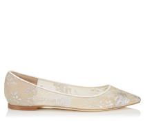 Romy Flat Flache spitze Schuhe mit weißer Spitze