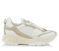 Raine Sneaker aus weißem und grau-beigen Wildleder, Leder-Mix und Meschgewebe