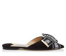 Gretchen Flat Flache Schuhe mit spitzer Zehenpartie aus schwarzem Wildleder mit Schleife in Schwarz und Kreide