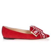 Gleam Flat Flache Schuhe mit spitzer Zehenpartie aus rotem Wildleder mit Logo-Schliefe in Rot und Rose