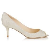 Isabel Peeptoe-Pumps aus Glitzergewebe in Platin