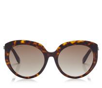 Etty Ovale Sonnenbrille aus dunklem Havana mit braunen schattigen Gläsern