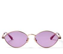 Sonny Ovale Sonnenbrille aus goldenem Metall mit violetten Gläsern