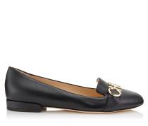 Jaden Flat Flache Schuhe mit runder Zehenpartie aus schwarzem und goldenem Nappaleder