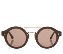 Montie Sonnenbrille aus dunkelgrauem Acetat mit rundem Gestell und goldenem Glitzergewebe