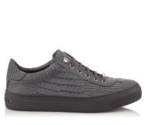 ACE Sneaker aus schiefergrauem Nubukleder mit Krokodil-Print