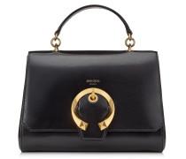 Madeline TOP Handle Handtasche mit Tragegriff aus Ziegen- und Kalbsleder in Schwarz mit Metallschnalle