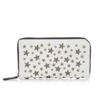 Carnaby Reisebrieftasche aus weißem genarbtem Kalbsleder mit Kristallsternen