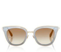 Lory Cat-Eye Sonnenbrille in Gold mit Spiegelgläsern